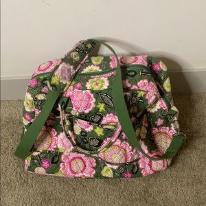 Vera Bradley Floral Weekender Bag Travel Green